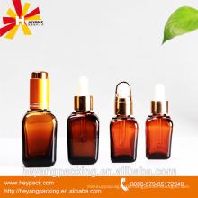 amber square glass dropper bottle