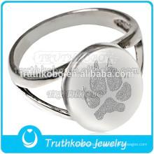 Stainless Steel Cremation Urn Keepsake Pet Ring Memorial Dog Paw Print Cremation Ring