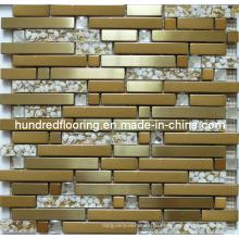 Полоса Золотая стеклянная плитка, Мозаика из смешанного металла для плитки Backsplash для кухни (SM237)