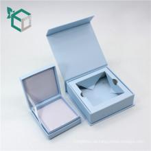 blaue Farbe Magnetverschluss Ring Box Schmuck Verpackung mit kleinen Box Deckel einfügen