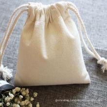 OEM Customized Logo Printed Travel Organic Canvas Drawstring bag Cotton String Drawstring Pouch Bag with logo