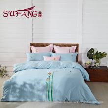 Отель постельные принадлежности 100% хлопок дешевые комплекты постельных принадлежностей вышивки