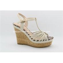 Sandálias elegantes para mulheres de moda com Lady High Heels Wedge