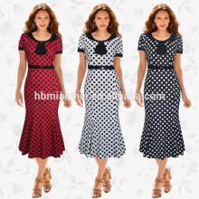 Dernières Ladies Print Wave Point mi-mollet Frock femmes indiennes partie porter Midi Pencil Dress Casual robe de queue femmes
