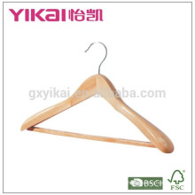 Fancy coat wooden hanger with square bar and rubber teeth
