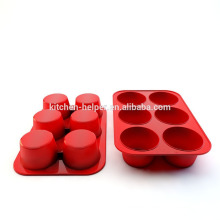 Hot Selling 6 Cups FDA Food Grade Heat Resistant Non-stick Kitchen Cooking Bakeware Muffin Mold Silicone Muffin Cake Pan