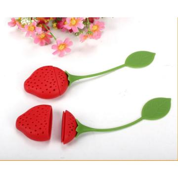 Red Strawberry Infuser Soft Tea Strainer silikon bag