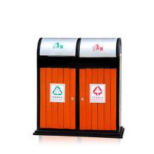 Stahl-Holz im Freien getrennte Abfalleimer für Park / Schule / Krankenhaus (B8500)