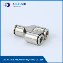 Air-Fluid Brass Nickel-Plated Equal Y Push to Connector.