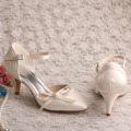 Mesdames Ivoire Satin Chaussures De Mariage Cone Heel Size 5