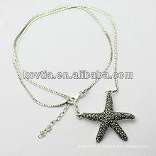 Charm prata esterlina estrela pingente de jóias 925 colar de corrente de prata