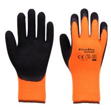 7 Gauge Hi viz Yellow Brushed Terry loops Acrylic liner Black Foam Latex Palm Coating Gloves For Winter