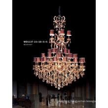 Luxury 5 Star Hotel Large Brass Crystal Chandelier Pendant Lighting (WD1137-15+10+5+5)