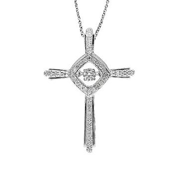 Jóias de moda Cross 925 Silver Dancing Colar de pingentes de diamante Colar
