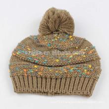 Ladies acrylic fancy yarn knitted pom pom hat
