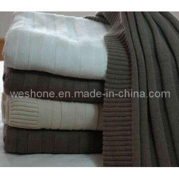 100 % coton couverture tricotée