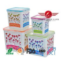 Recipiente de alimento plástico alto quadrado do produto comestível 4PCS