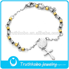 316 Stainless Steel Solid Gold Silver Christ Rosary Bracelet with Cross and St. Benedict