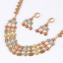 Moda simples africano bonito banhado a ouro 18k conjunto de jóias de imitação 61215