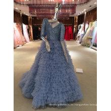 Mermaid Real muestra de alta calidad azul vestido de novia