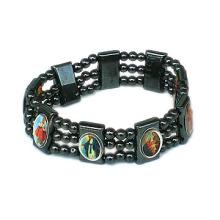 Wholesale Religious Hematite Bead with Saint Picture Rosary Bracelet
