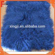 Piel de cordero real de Tíbet, placa de piel de cordero de color azul