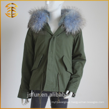 New Style Custom Cheap Hood Winter Jeans Brand Raccoon Fur Parka