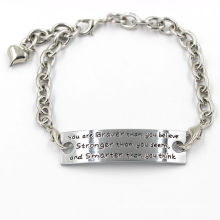 17cm Sterling Silver Chain Engraved You Are Braver...Metal Bracelet