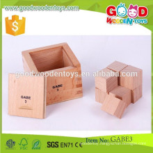 hot sale kids toys 7*7*6.8cm size gabe toys OEM natural wooden divided cube