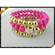 Красный бирюзовый браслет, бирюзовый браслет из бисера с черепом (CB066)