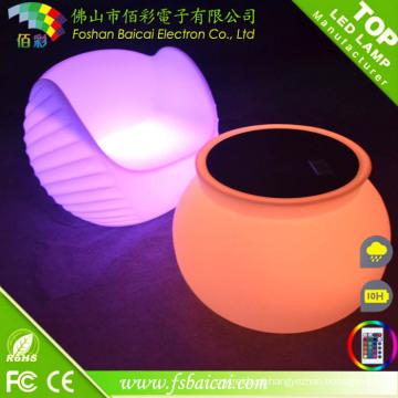Mesa redonda de plástico e cadeira com luz LED para discoteca