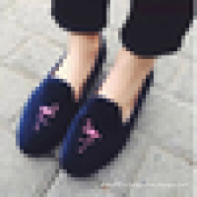 Новые девушки Необычные Loafer обувь Симпатичные вышивки плоские повседневные обуви