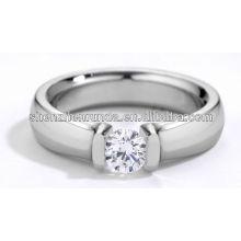 Aço inoxidável moda anel dedo diamante ca anéis de pedra para mulheres e homens
