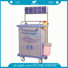 AG-AT001A3 Thérapie avec l'hôpital de stockage de tiroirs ABS chariot d'anesthésie avec le tiroir
