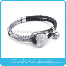 Moda para mujer pulsera de cuero corazón Rhinetone brazalete encanto de acero inoxidable Fourleaf trébol de cristal brazalete