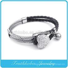 Bracelet En Cuir Pour Femmes En Cuir Cœur Rhinetone Manchette En Acier Inoxydable Bracelet En Cristal Trèfle Fourleaf