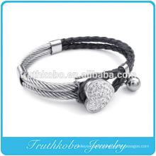 Fashion Womens Leather Bracelet Heart Rhinetone Cuff Stainless Steel Charm Fourleaf Clover Crystal Bangle