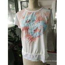 Mode neuesten rosa schöne Blume Stickerei Frauen T-Shirt