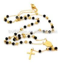 Collar de rosario negro con cuentas de oro negro, rosario católico de acero inoxidable para mujeres