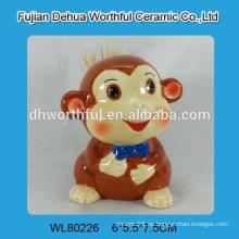 Portacepillos de cerámica con sonrisa con diseño de mono