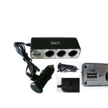 12V 3 Way Car Cigarette Lighter Socket/USB DC Power Charger/Adapter Socket