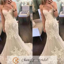 Vestido nupcial sin mangas de Tulle del cordón del Applique del vestido de boda de la sirena atractiva de la vendimia 2017