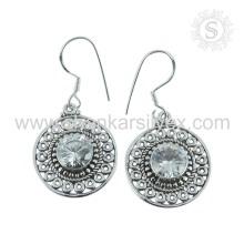 Bijoux faits à la main 925 en argent sterling blanc CZ boucles d'oreilles Fabrication indienne bijoux en argent