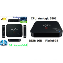 Caja de Smart TV Android con Amlogic S802, 1GB, 8GB Quad Core, Dts, Dolby, vídeo de 4 k, 3D Google Android 4.4 Internet Ott TV Box Set Top Box modelo: Mxiii