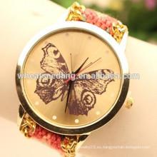 Moda hecho a mano trenzado señoras cuarzo hilo de la mariposa reloj Ginebra pulsera reloj