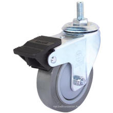 Threaded Stem PU Caster with Dual Brake (Gray)(Flat Surface) (3304375)