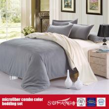 Juego de sábanas de microfibra combinadas de lujo, color sólido y cómodo