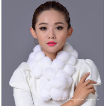 Lady Fashion Rex Rabbit Fur Ball Winter Scarf (YKY4398)