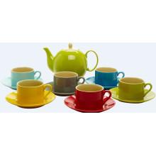 Satz von 7 Keramik Tee-Set