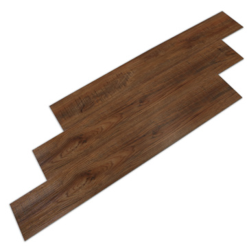 Kratzfester Laminatboden aus dunkelbraunem Holzmaserung